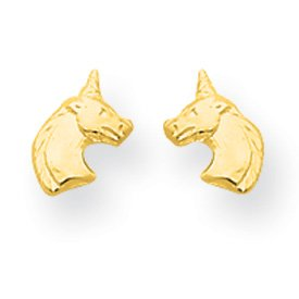 14k Yellow Gold Unicorn Children's Post Earrings