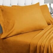 Luxor Linens - Bed Sheet Set - Luminoso Castello Line, Super Soft & Wrinkle Resistant 4-Piece Microfiber Sheet Set - Queen - Apricot (Yellow Flannel Sheets compare prices)