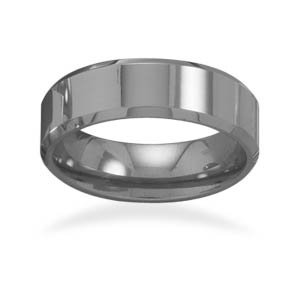 Tungsten Carbide 6mm Men's Ring with Beveled Edge / Size 9.5