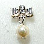 Jewelry Nail プリティネイル チャーミングリボンー1 パール シルバー PNー0307R