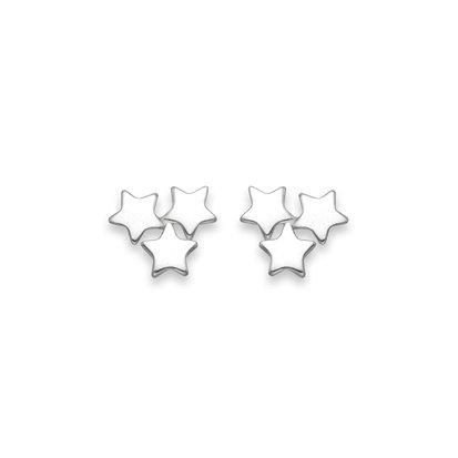 Sterling Silver 3 stars Stud Earrings - SIZE:7mm 5235. Shipped in our quality Silver Gift Box by 1st class mail