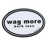 Wag More Bark Less Auto Car Refrigerator MAGNET - White background with Black Font