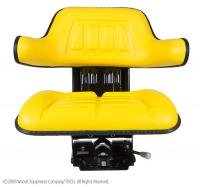 John Deere Tractor Universal Seat W/ Wrap Around Back W/ Arms Yellow
