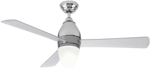Ventilatore da soffitto con luce Perenz 7128CL diametro 110 cm, fornito di telecomando ad onde radio a corredo ha un kit luce che richiede una lampadina attacco E27 max 60W. 3 pale con la funzione di reversibilità Potenza motore 50W
