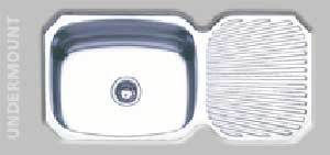 Oliveri 220 0 Stainless Steel Sink Single Basin With R/L Drainboard Down  Undermount