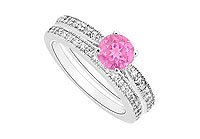 Pink Sapphire and Diamond Engagement Ring with Wedding Band Set 14K White Gold - 0.75 CT TGW MADE IN USA