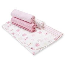 Gerber 5-Pack Flannel Receiving Blankets - Pink by Gerber Childrenswear