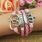 "Pink & Silver Designer Multi-strand Cord Bracelet, Men, Womens, Boys or Girls Bracelet. 3pc Heart, Crown & ""Love"" Charms"