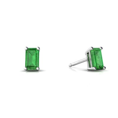 Jewels For Me 14K White Gold Emerald-cut Genuine Emerald Stud Earrings