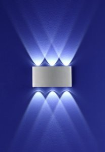 LED Wall Light for Indoors or Outdoors Up / Down Lights Aluminium 6 x 1 W PLED Lights