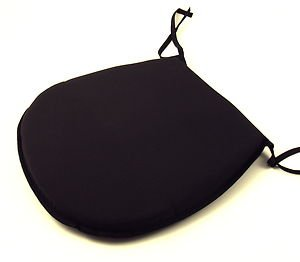 Plain Black Tie-On Chair Kitchen/Dining Room Seat Pad Cushions