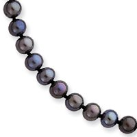 Genuine IceCarats Designer Jewelry Gift 14K 5-5.5Mm Black Freshwater Onion Cultured Pearl Necklace In 18.00 Inch