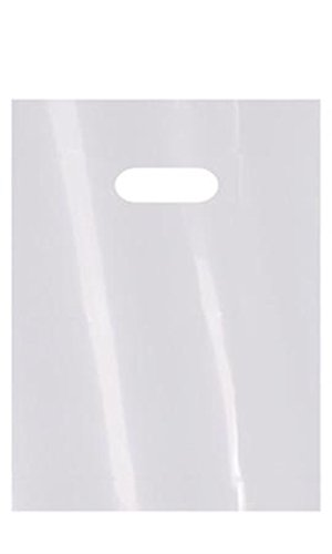 New 1000 Small White Low Density Merchandise Bag with Die Cut Handles - 9