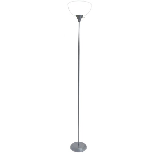 Living Accents Torchiere Floor Lamp A19 Silver Finish, 71.5