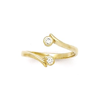 10k Yellow Gold Double Solitaire Cubic Zirconia Toe Ring