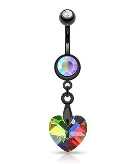 Gekko Body Jewellery Black IP Surgical Steel Multi-Coloured Crystal Ray Prism Heart Belly Bar