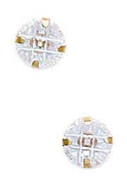 14k Yellow Gold 6mm 9 Segment Round CZ Light Prong Set Earrings - JewelryWeb