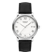 Montblanc Tradition Automatic White Dial Black Leather Mens Watch 112609