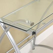Amazon Com Glass Metal Silver Corner Computer Desk