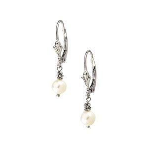 14K White Gold Freshwater Pearl Drop Earrings