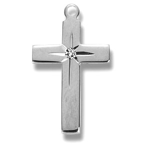 Sterling Silver Plain Cross with Star Medal Medal with 18