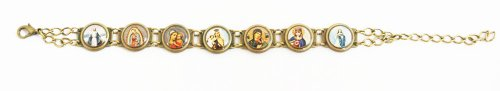 Mary Images Antique Gold Link Bracelet with 7 Images - Made in Brazil.