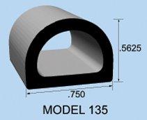 Clean Seal Rubber RV Weather Strip Motorhome Weather Stripping Weather Strip, .563X .750 X 100'