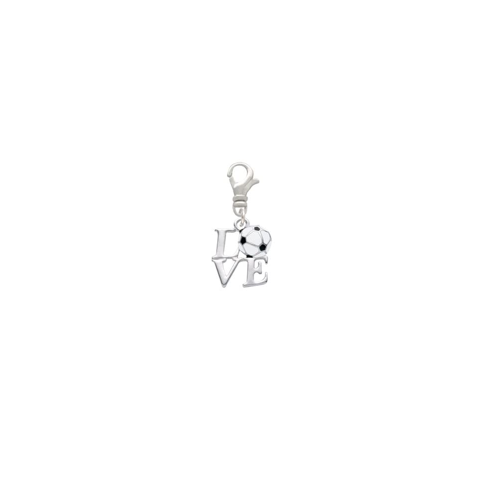 Silver Love with Soccerball Clip On Charm [Jewelry] Delight Jewelry Delight Jewelry Jewelry