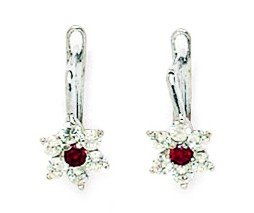 14ct White Gold January Birthstone Red1.5mm CZ Flower Leverback Earrings - Measures 13x6mm