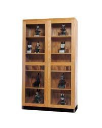 """Diversified Woodcrafts 372-4816 Natural Transparent Finish Solid Oak Wood Glass Microscope Storage Case, 48"""" Width x 84"""" Height x 16"""" Depth"""