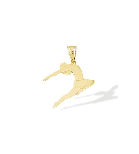 14k Yellow Gold Gymnast Dancer Acrobat Charm Pendant