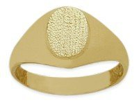 14 Karat Yellow Gold Brushed Finish Oval Baby Ring