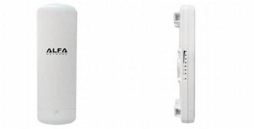 ALFA Network N2 - Router inalámbrico para exteriores (30 dBm, 1000 mW, 802.11b/g/n WLAN/AP 2,4 GHz, antena interna tipo panel de 12 dBi, MiMo, doble polarización, Atheros AR7240, High Power Booster)