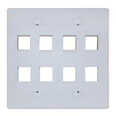 Keystone Wall Plate, 8 Hole, Dual Gang, White