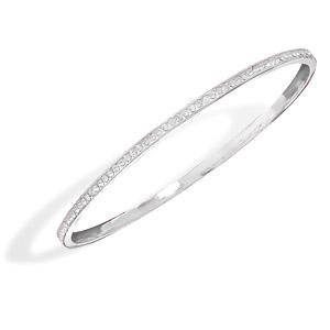 Channel Set Crystal Bangle Bracelet - Silver Plate Made with SWAROVSKI ELEMENTS