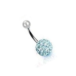 Rivertree London Aquamarine Crystal Disco Ball shamballa Navel Bar 10mm