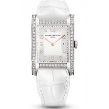 Baume et Mecier Hampton Milleis Opaline Silver Alligator Leather Ladies Watch M0