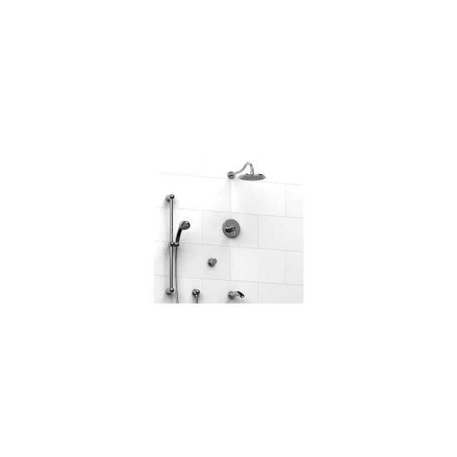 Riobel 1/2 Coaxial Thermostatic Pressure Balance System W/ Hand Shower Rail, Shower Head, Tub Spout & 3 Way Diverter Valve Antico KIT#1343ATBN Shower Faucet Kits
