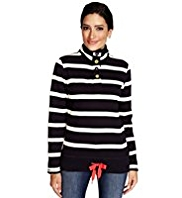 Per Una Cotton Rich Striped Fleece Top