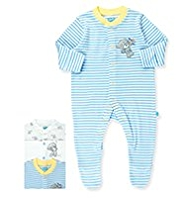 3 Pack Pure Cotton Tatty Teddy Assorted Sleepsuits