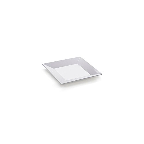 "G.E.T. Ml-104-W Siciliano White 10"" Sq. Melamine Plate - 12 / Cs front-16111"