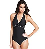 Halterneck Spotted Band Swimsuit