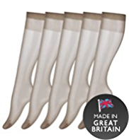 5 Pairs of 15 Denier Sheer Matt Knee Highs
