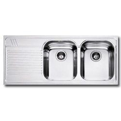 Undermount Sink To Two Basins and Slide to Left, Base 80 cm, stainless Aesthetic Steel Franke AMX 621 – Harmony