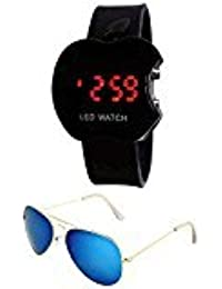 Sheomy Unisex Combo Pack Of Golden Silver Mercury Sunglasses And LED Digital Black Dial Apple Shape Watch