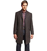 Blue Harbour Pure Wool Notch Lapel Checked Coat