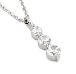 Sterling Silver Cubic Zirconia Graduated Pendant Necklace With Rhodium Finish