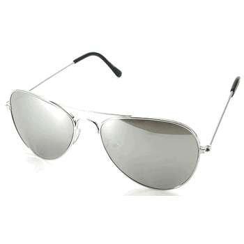 Man Woman Unisex Metal Aviator Silver Lens Mirror Sunglasses