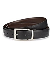 Autograph Leather Rectangular Buckle Reversible Belt