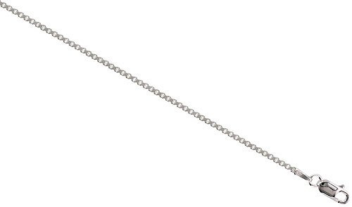 Sterling Silver Italian BOX Chain Necklace Mirror Diamond Cut Finish 1.4mm medium heavy Nickel Free, size 56 CM Long